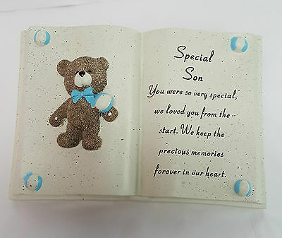 SPECIAL SON RESIN BOOK FOR GRAVE OR MEMORIAL APPROX 19 x 13CM