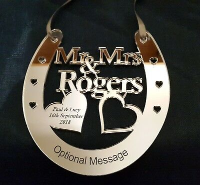 Personalised Wedding Bridal Mr & Mrs Good Luck Horseshoe Gift and Lucky Keepsake