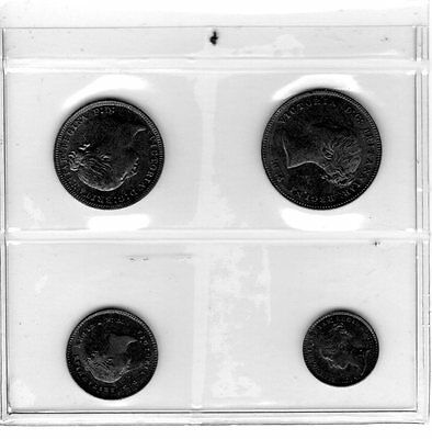 Great Britain 1875 Maundy Set Victoria Penny Two Three Fourpence Silver Coins