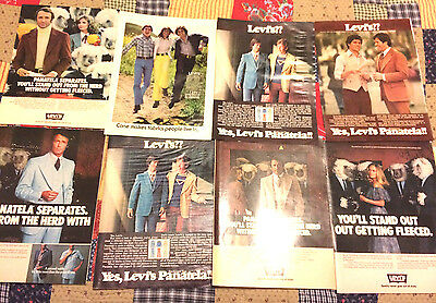 Vintage Levi's Clothing Apparel Magazine Print Ad Lot of 8 Pages Clippings