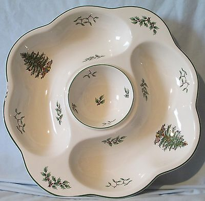 Spode Christmas Tree Crudite Chip N' Dip Vegetable Tray Dish