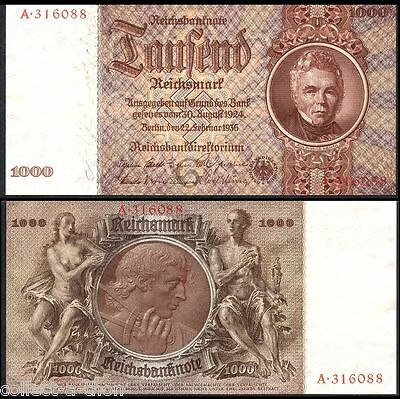 King Of Nazi Currency! Crisp Uncirc 1936 1000M! Highest Denom Ever! Super Rarity