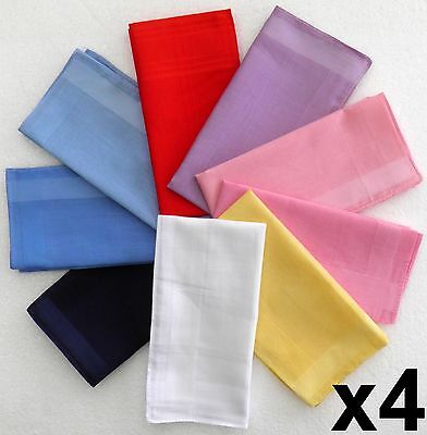 Ladies Cotton Handkerchiefs 4 pack White Yellow Pink Purple Red Blue Hankies