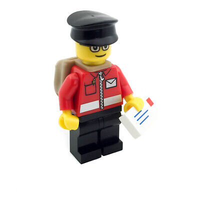 Mail Carrier Minifigure w// Envelope /& Mailbox Post Office Delivery Man LEGO