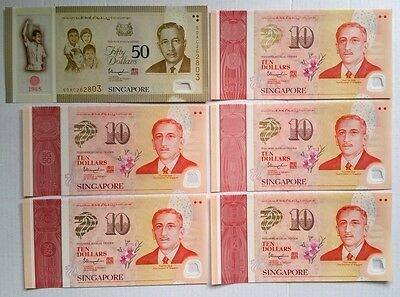 Singapore 2015 SG50 Polymer Commemorative Notes Complete Set WITHOUT FOLDER
