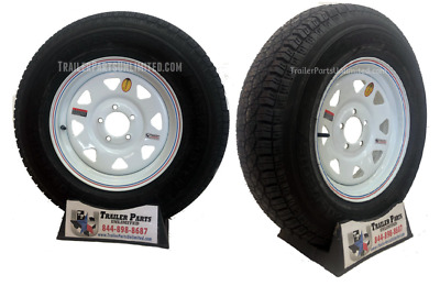 "(2) New 15"" ST205/75D15 Trailer Tire & Wheel White Spoke 5 lug 5x5 Utility, Boat"