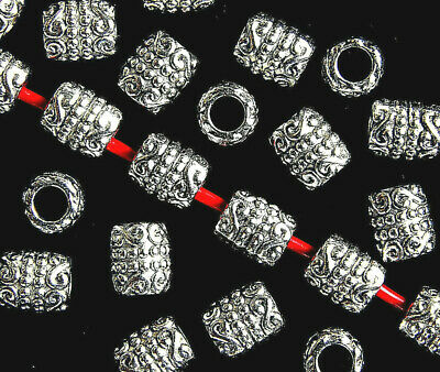ANTIQUE SILVER~TUBE~TIBETAN STYLE~SPACER BEADS~6 x 5 MM ~ 3 MM HOLE
