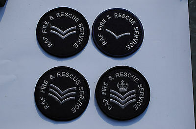 Royal Air Force Fire & Rescue Service Patches - 4 Different Ranks