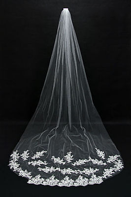 New White/Ivory Beautiful Cathedral Length Lace Wedding Bridal Veil With Comb
