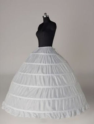 New White 6-HOOP Wedding Ball Gown Crinoline Petticoat Skirt Slips Underskirt