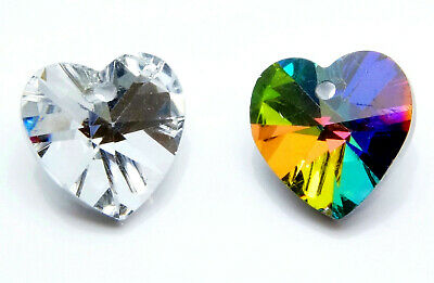 10 x FACETED~GLASS ~HEART~SILVER PLATED~PENDANT / CHARM, 14 x 14 MM
