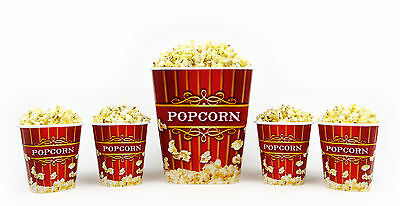 Popcorn Bucket Set - 1 Large & 4 Small Plastic Serving Bowl Tubs
