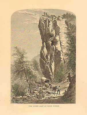 North Carolina, French Broad River, Lovers Leap, At Sunrise, 1874 Antique Print