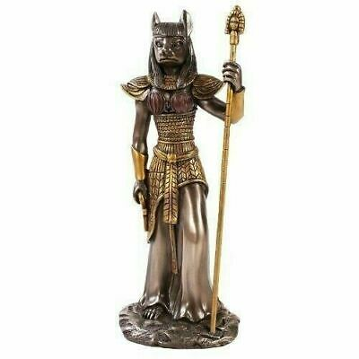 Ancient Egyptian Decor Bronze Finish Goddess Bastet with Staff Statue Figurine