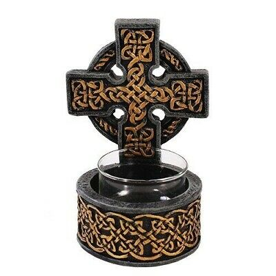 Ancient Celtic Cross Trinity Warrior Symbol Tea Light Candle Holder Collectible