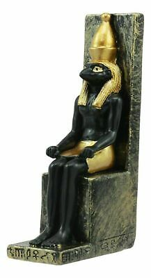 "Ancient Egyptian Decor Miniature 3""H Seated God Horus on Throne Figurine Statue"