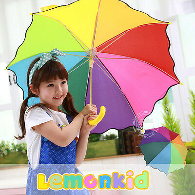 "31"" Pretty Rainbow Girl Children Umbrella Parasol Sunshade Colored Brand New"