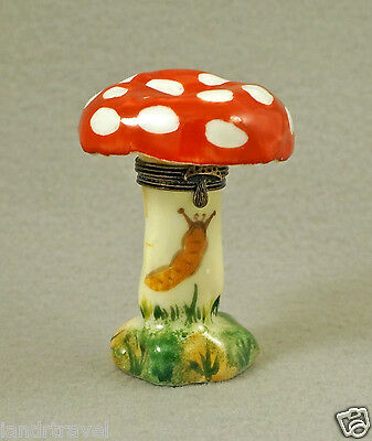 NEW AUTHENTIC FRENCH LIMOGES BOX COLORFUL POISONOUS MUSHROOM WITH SNAIL