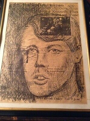 Ink Drawing Of Robert Kennedy On The Morning Record Newspaper June7,1968