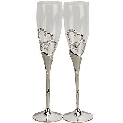 Wedding Toasting Champagne Glasses Flutes Crystal Diamante Hearts w Silver Stem