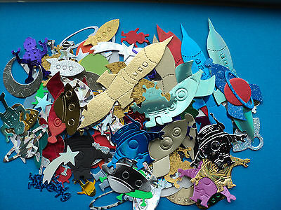 Space themed mixed die cut shapes approx 100pcs  Rockets UFO Aliens planets.....