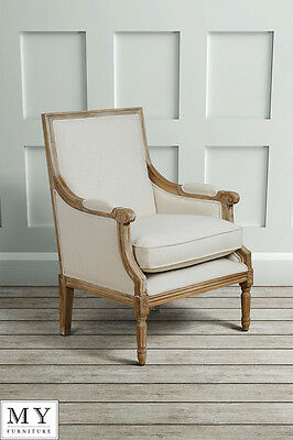 French Louis Style shabby chic OAK Dining Occasional ArmChair - De Troy