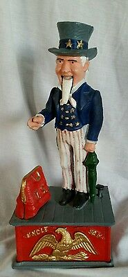 VINTAGE UNCLE SAM Mechanical CAST IRON BANK