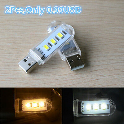 2XMini Portable Bright 3 LED Night Light USB Lamp for PC Laptop Reading 5730 SMD