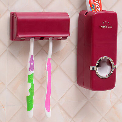 RED Wall Mount Rack Rose Automatic Toothpaste Dispenser Toothbrush Holder Stand