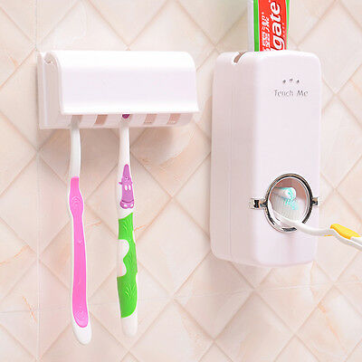 NEW Wall Mount Rack Automatic Toothpaste Dispenser White Toothbrush Holder Stand