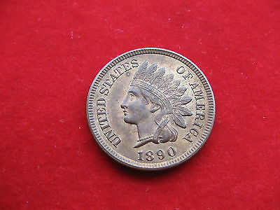 CHOICE HIGH GRADE USA 1890 INDIAN HEAD CENT LUSTRE almost UNC WORTH A LOOK