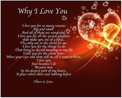 Personalised Why I Love You Birthday Christmas Valentines Gift Present