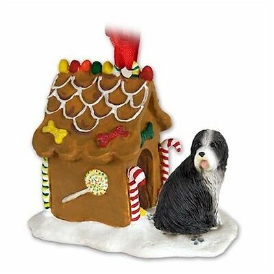 Realistic Elegant Hand Painted Bearded Collie Gingerbread House Ornament