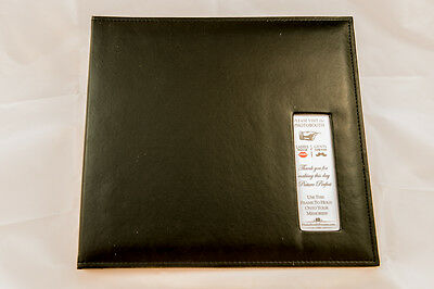 Photo Booth Scrapbook, 12x12 leather album Photo Booth album, 25 black pages