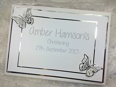 Personalised Christening Baptism Baby Handmade Guest Book Diamante Butterflies