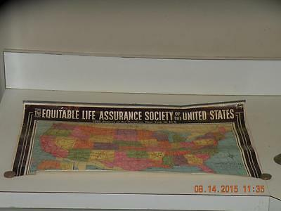 "vintage Equitable Life Assurance Society of US Map by Thos Murphy 22"" x 15"" NY"