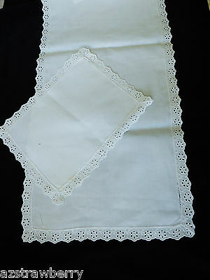 VTG white linen set of 2 Table Doily Lace Center Runner Dresser Decor