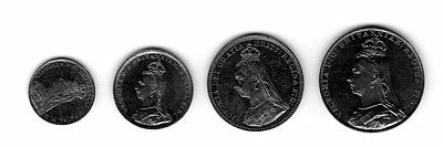 Great Britain 1890 Maundy Set Victoria Penny Two Three Fourpence Silver Coins