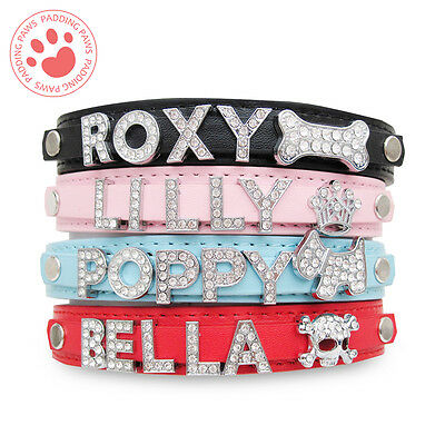 PERSONALISED Dog Puppy Cat Pet NAME Collar | PU Leather | BIG Diamante Letters