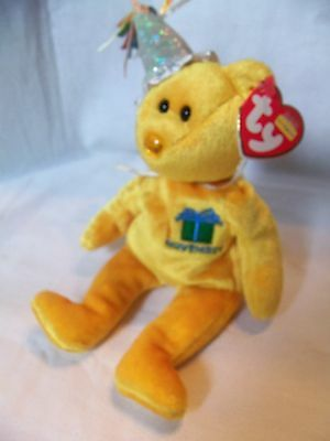 TY Beanie Babies Yellow Birthday Bear ** NOVEMBER **  New w/ Tag