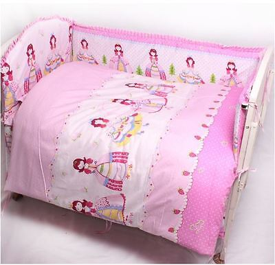 100% Cotton Baby Bedding Cot Sets-NEW 11pcs Quilt Bumpers fitted sheet pillowcas