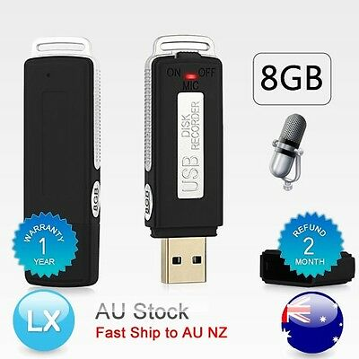 AU New USB MEMORY STICK Rechargeable 8GB Digital Voice Recorder RECORD Pen black
