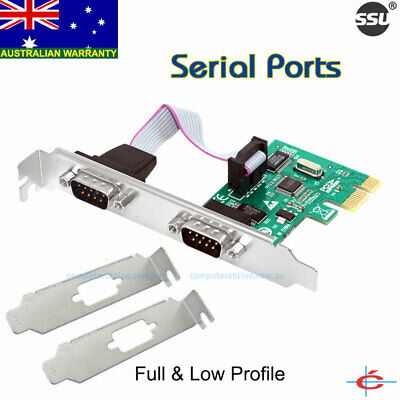 PCI-E Express Serial Ports Card 2-Port RS-232 Controller for All Windows & Linux