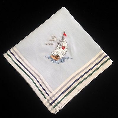 Mens Novelty Handkerchiefs - Embroidered Sailing Boat 100% Cotton Quality Hanky