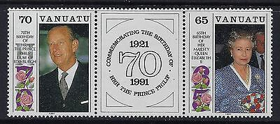 1991 Vanuatu The Queen & Prince Philip Birthdays Fine Mint Mnh/muh