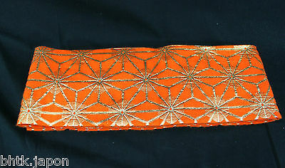 半幅帯 HANHABA OBI japonais - ORANGE OR - Ceinture japonaise - import direct