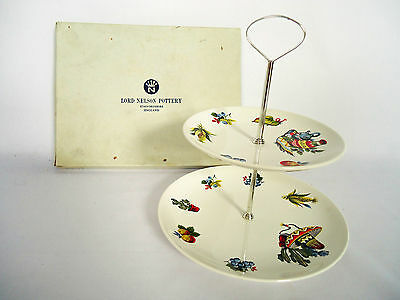 """Lord Nelson Pottery """"Rio"""" Two Tier Cake Stand, Boxed C1973 Kitsch"""