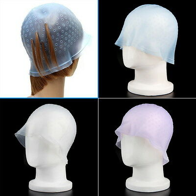 Professional Reusable Hair Colouring Highlight Dye Cap Hook Frosting Tipping FC