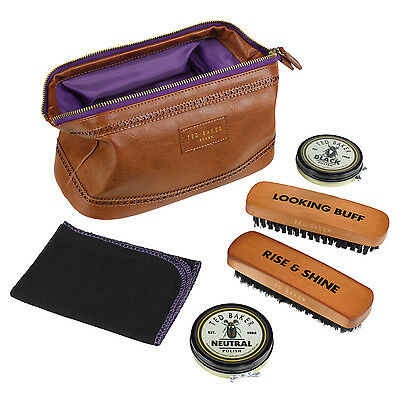 Ted Baker - 5 Piece Shoe Shine Kit in Brown Brogue Faux Leather Case