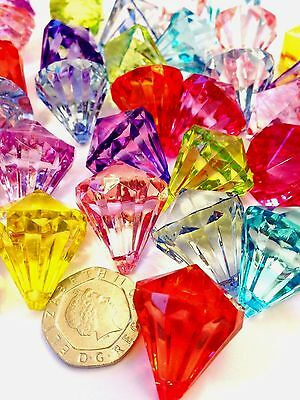 10 Extra Large Faceted Teardrop Acrylic Crystal Pendant Beads 26mm Mixed Colours